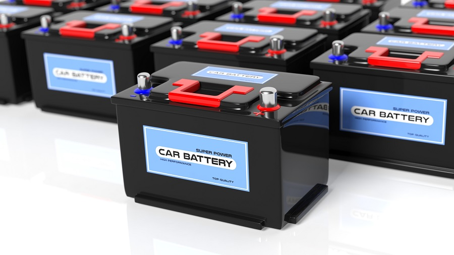 Generic Car Batteries stacked together returning a car battery