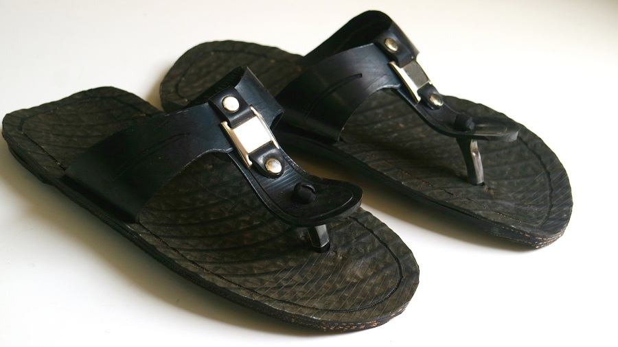 Sandals made from reused car tires